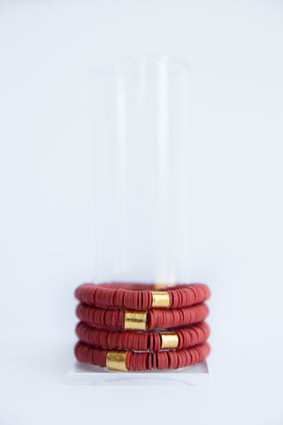 Cherry Red Vinyl Disk Beaded Elastic Bracelet