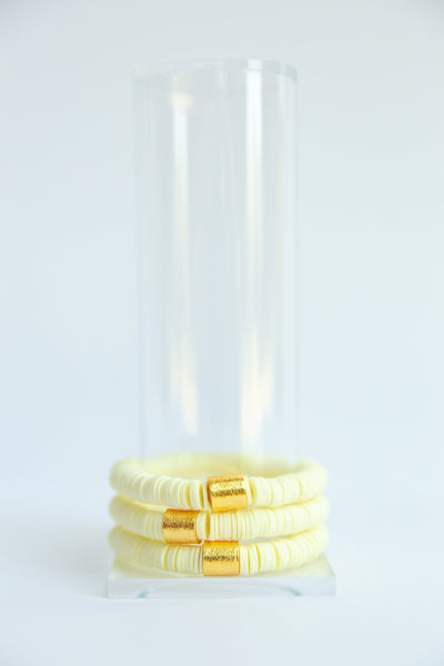 Pale Yellow Vinyl Disk Beaded Elastic Bracelet