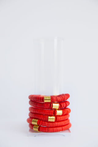 Red Vinyl Disk Beaded Elastic Bracelet