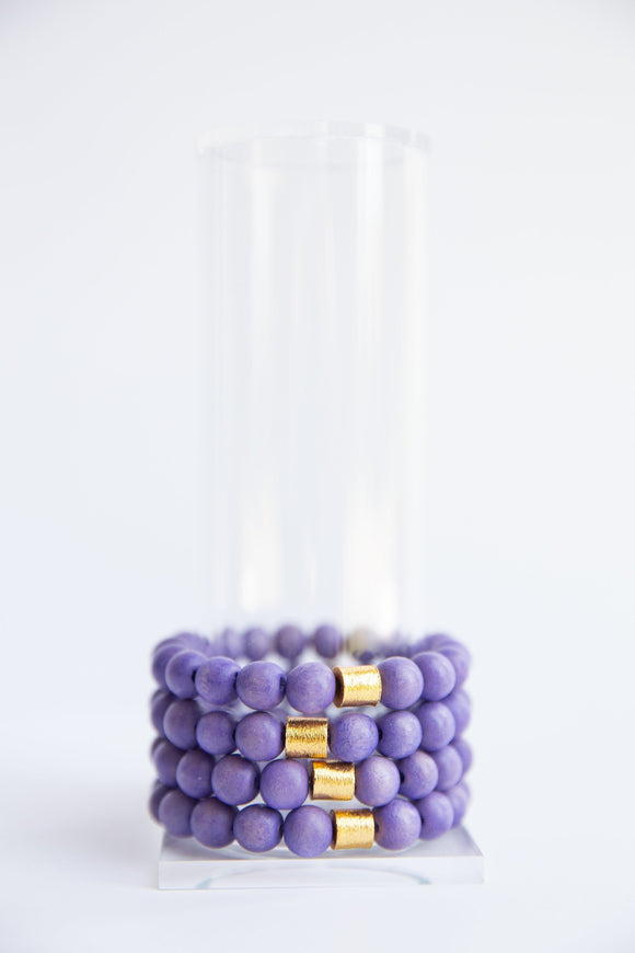 Grape Round Wooden Bead Elastic Bracelet