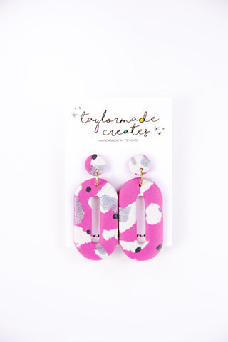 Large Pink & White Oval Dangle Earrings