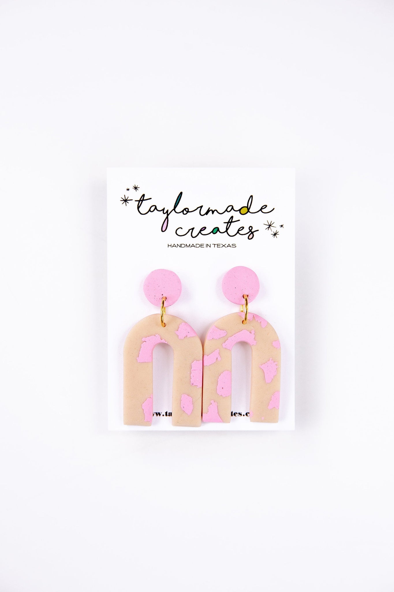 Medium Blush & Pink Arch Dangle Earrings
