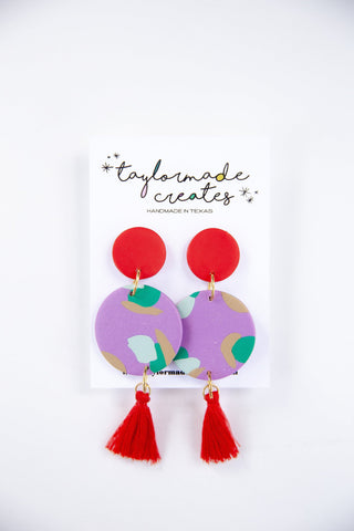 Large Purple & Red Circle Dangle Earrings with Tassels