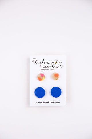 Translucent/Orange & Blue Stud Pack