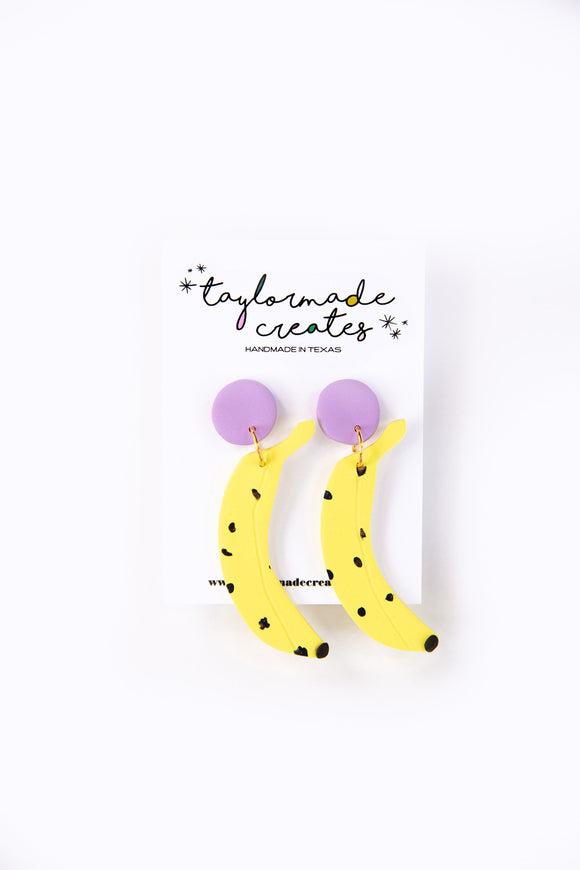 Large Banana Dangle Earrings