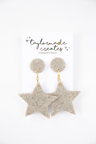 Large Granite Star Earrings