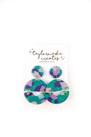 Large Turquoise, Green & Lavender Geo Dangle Earrings