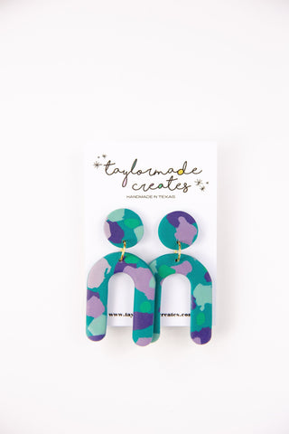 Large Turquoise, Green & Lavender U Dangle Earrings