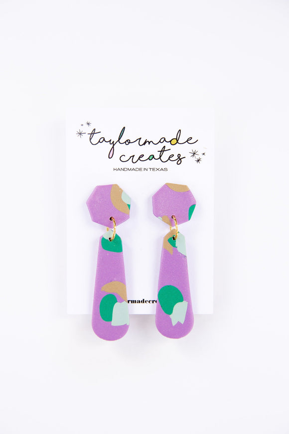 Large Purple & Mint Slide Dangle Earrings