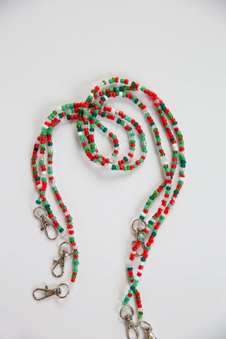 Christmas Beaded Mask Lanyard