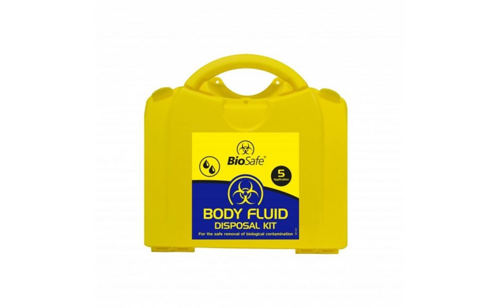 A body fluid disposal kit for first aid.