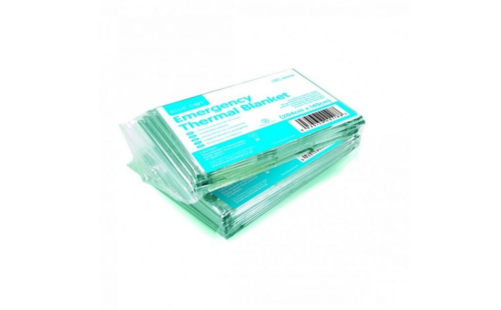 Emergency thermal blanket for first aid.