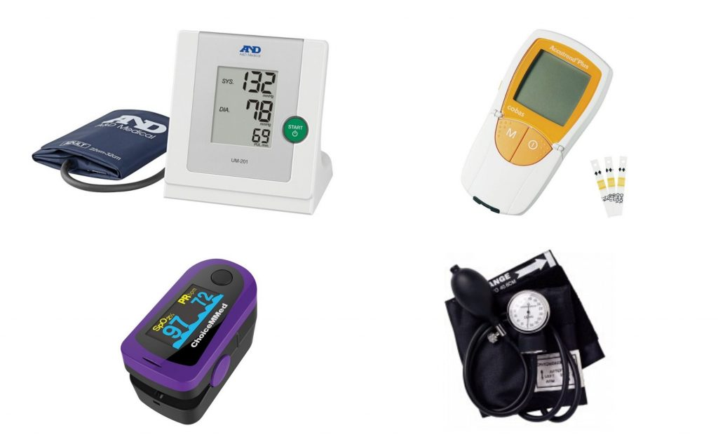 A range of blood pressure monitors and oximeters.