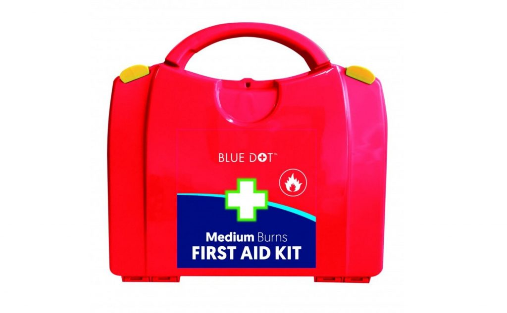 A medium burns first aid kit.