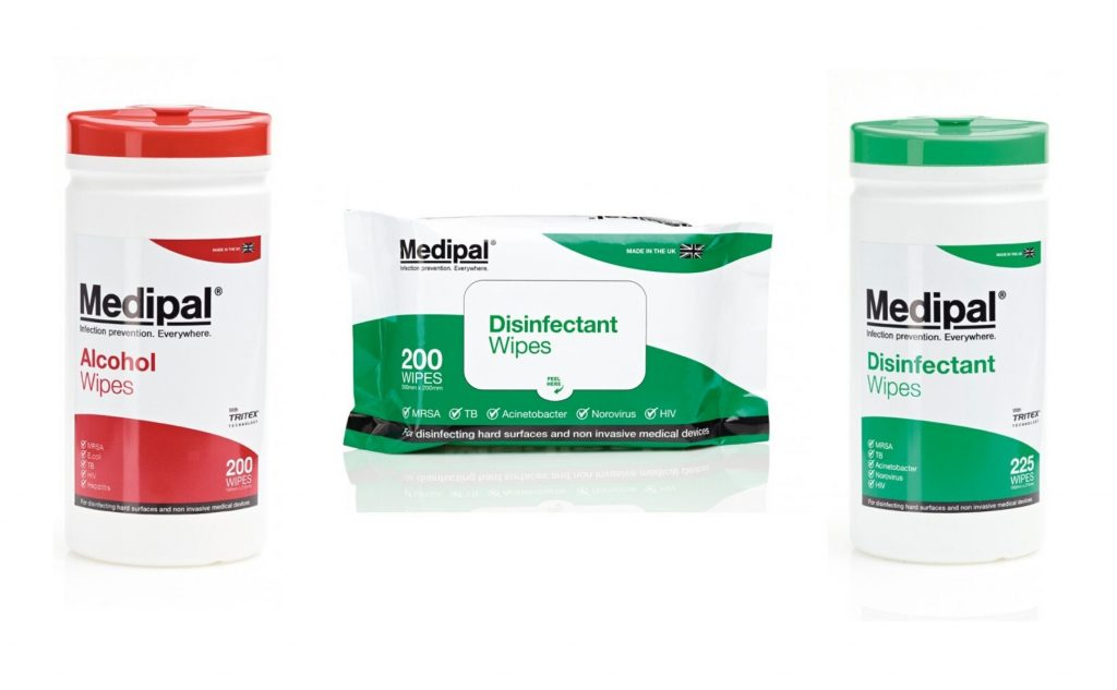 first aid alcohol wipes and disinfectant wipes