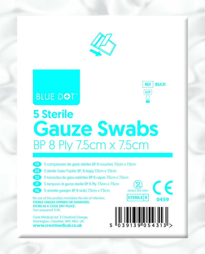 Blue Dot Sterile 7.5cm x 7.5cm Gauze Swabs (Pack 5)