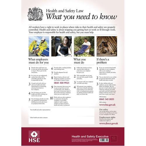 Health & Safety Law Poster Semi-Rigid Plastic 590mm x 420mm