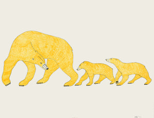 Quvianaqtuk Pudlat; Untitled (Polar Bear and Cubs)