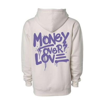 Money Over Love Hoodie Off White- Men's