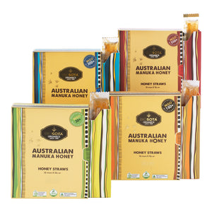 MANUKA HONEY STRAWS COLLECTION SET OF FOUR (MGO 30+/150+/300+/550+) 12g N.W QTY 12 pcs x 4 Gift boxes