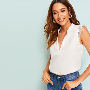 SHEIN V-Placket Elegant V Sleeveless Top