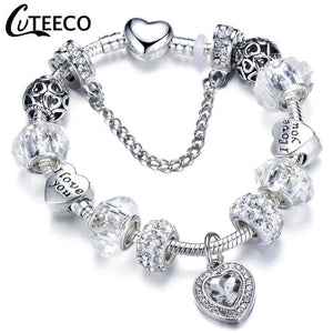 Silver Charms Bracelet with various beads