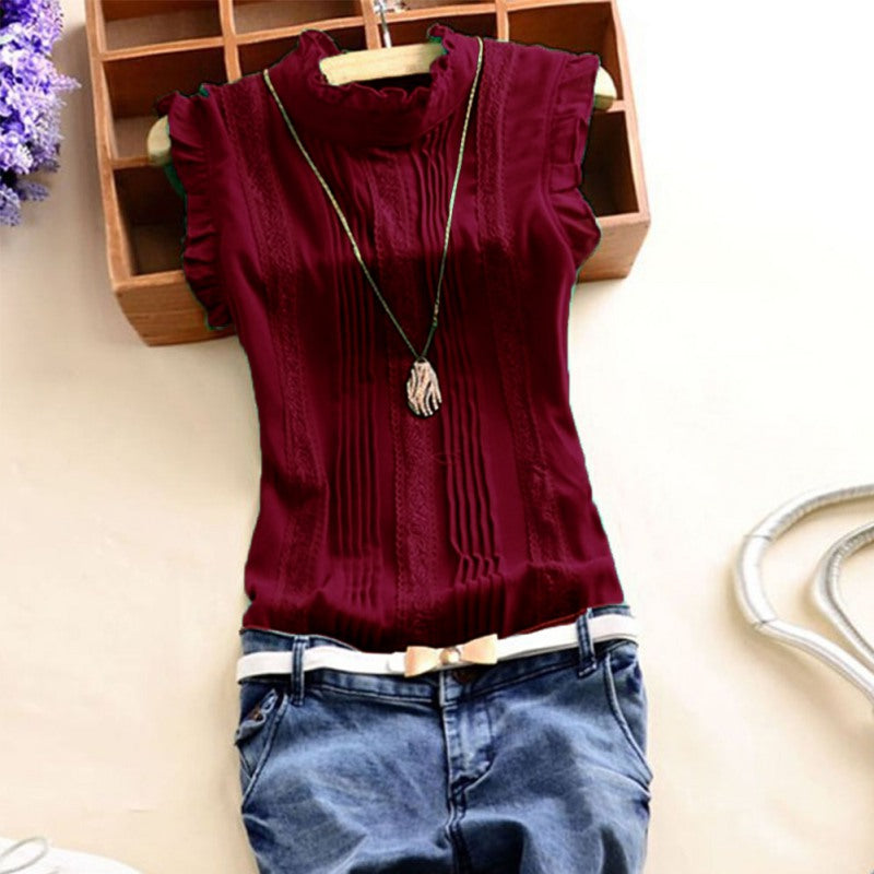 Women Ruffle Sleeveless  Tops