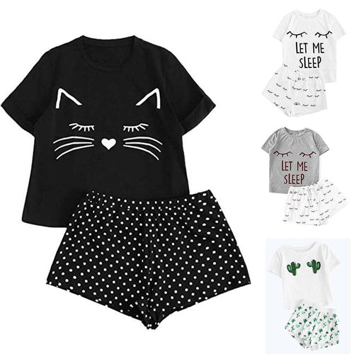 Nightwear Set With Cat Smile Print