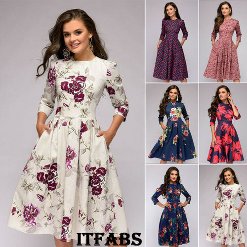 Autumn and winter ladies retro long-sleeved dress floral print slim dress