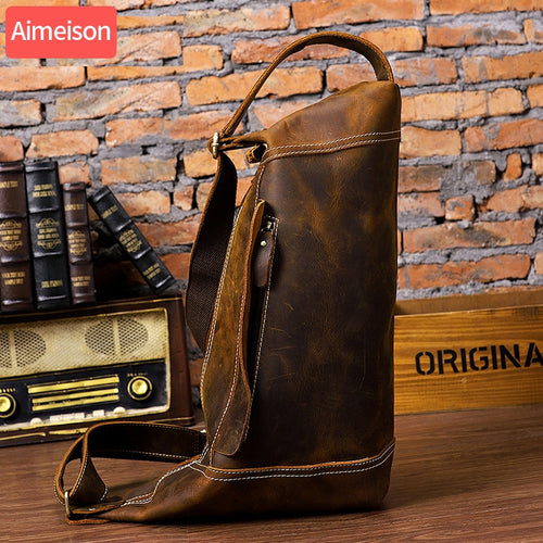 Leather Retro Sling Chest Bag