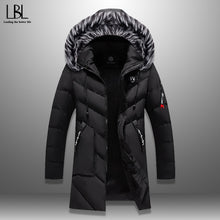 Load image into Gallery viewer, Long Hooded Jacket Fur Collar