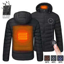 Load image into Gallery viewer, Warm USB Heating Jackets Smart Thermostat Pure Color Hooded Heated Clothing Waterproof  Warm Jackets