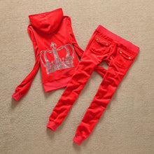 Load image into Gallery viewer, Velour Outfits Hoodies Tops and Sweat Pants Set S- XL