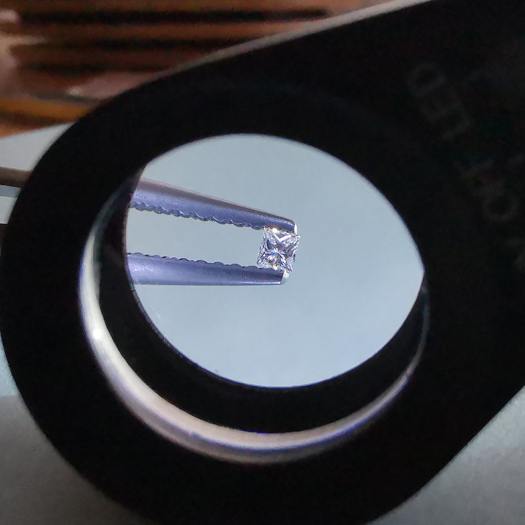 Deimantas, princess cut 1.9x1.9 mm  F VS1
