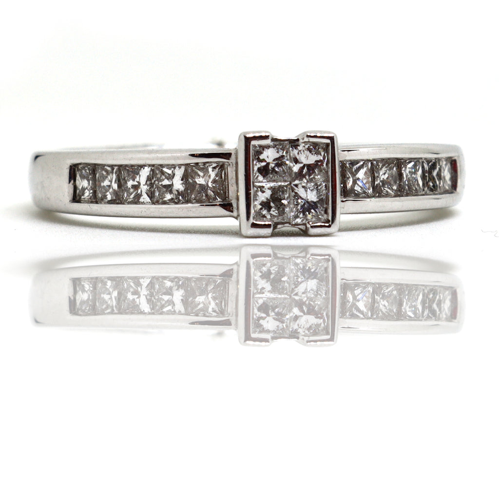 14 Stone princess cut invisible set ring