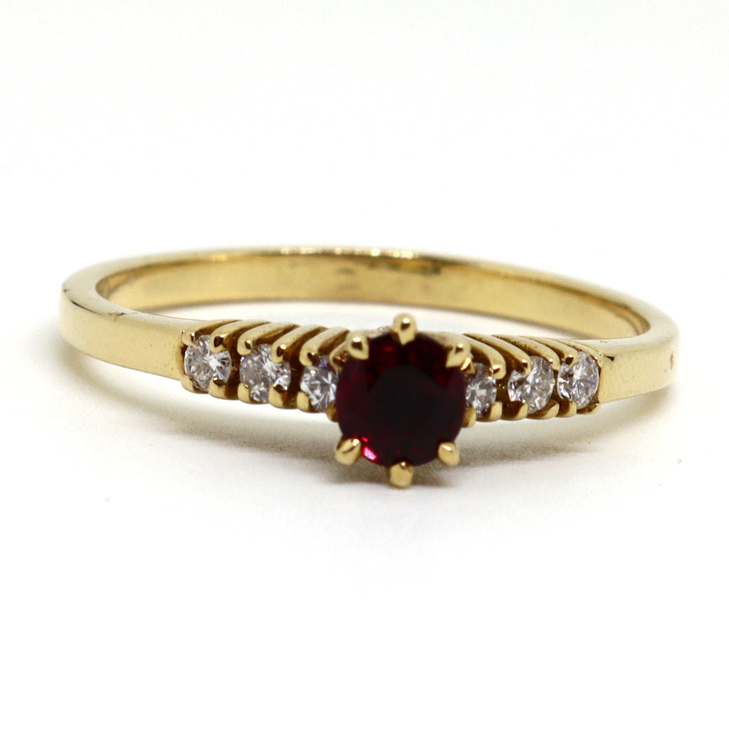 7 Stone ruby and diamond ring