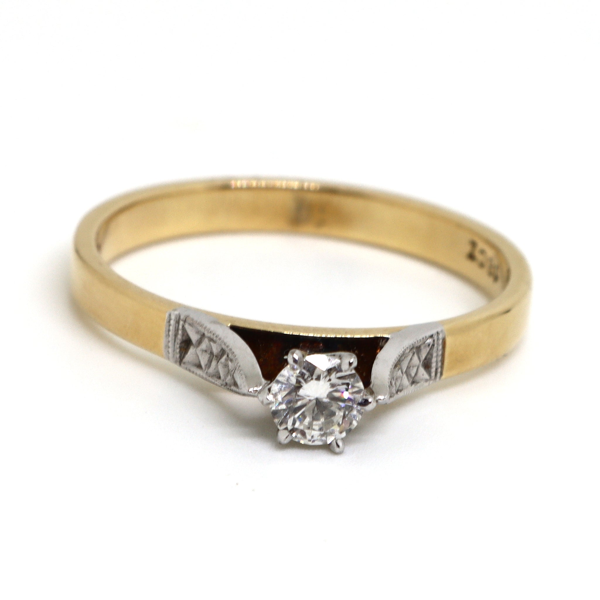 2 Tone Solitaire diamond ring