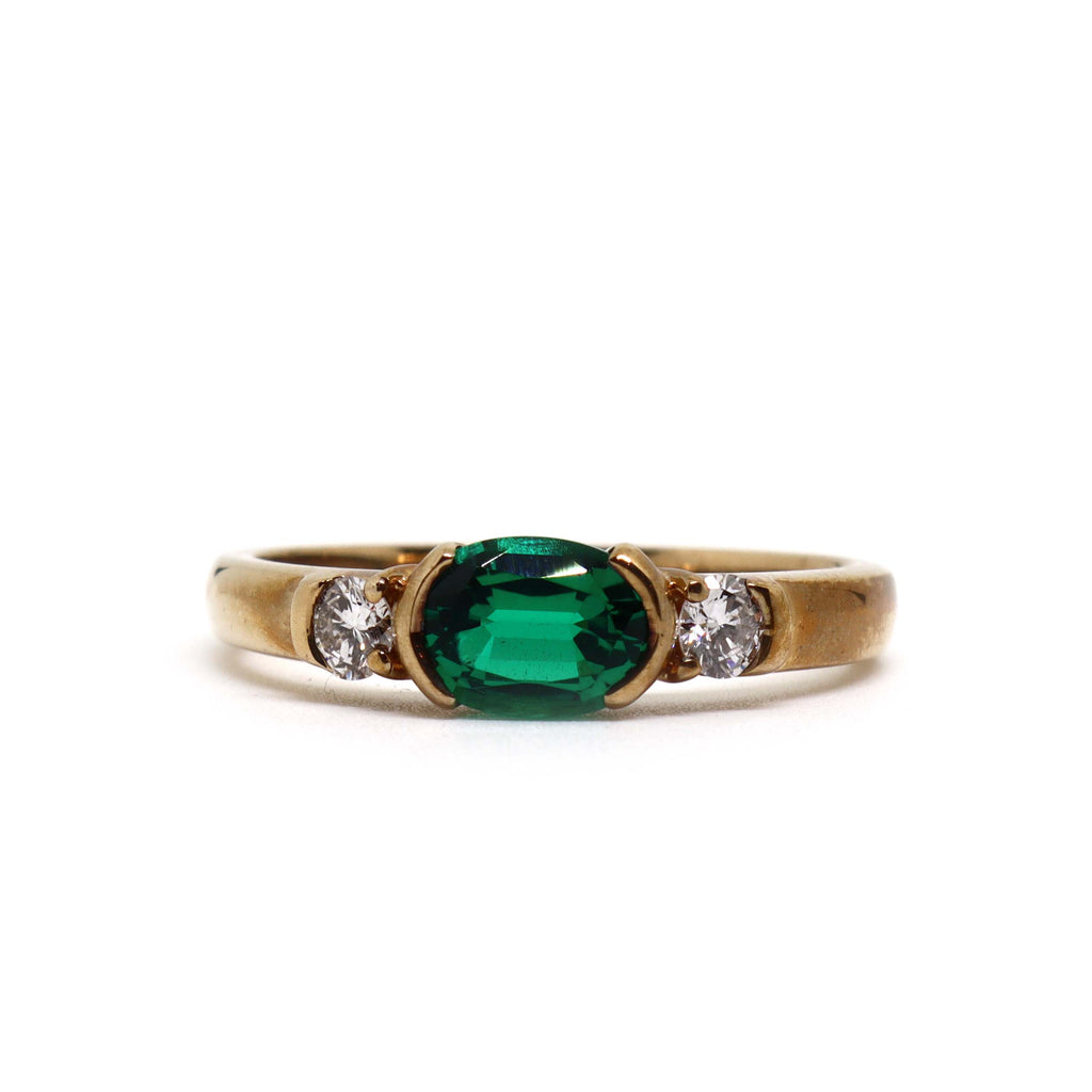 3 Stone Biron Emerald and Diamond ring