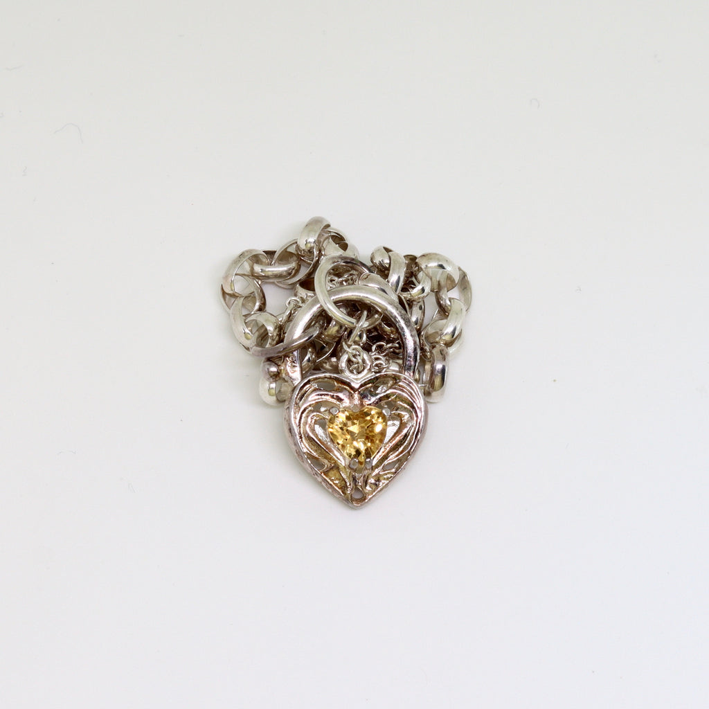 Citrine Heart filagree padlock