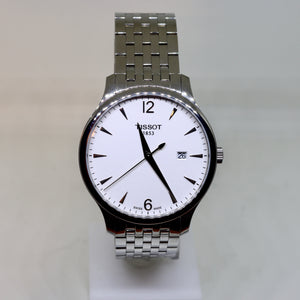 Tissot white face and silver surround mens watch