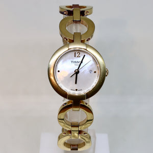 Tissot mother of pearl style face and gold surround womens watch