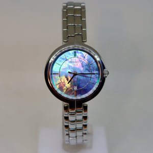 Tissot dark tone mother of pearl style face and silver surround womens watch