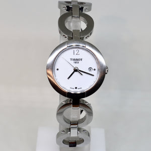 Tissot white face and silver surround womens watch