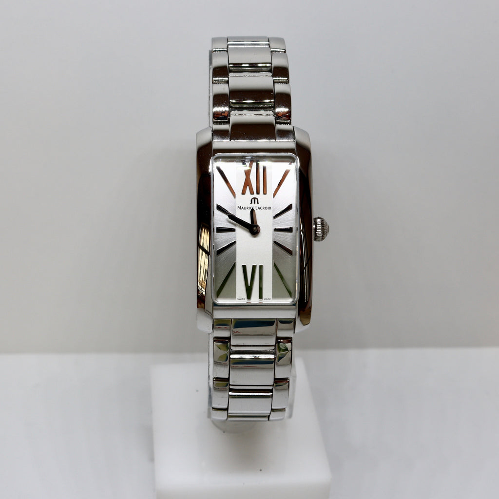 Maurice Lacroix square white face with silver surround womens watch