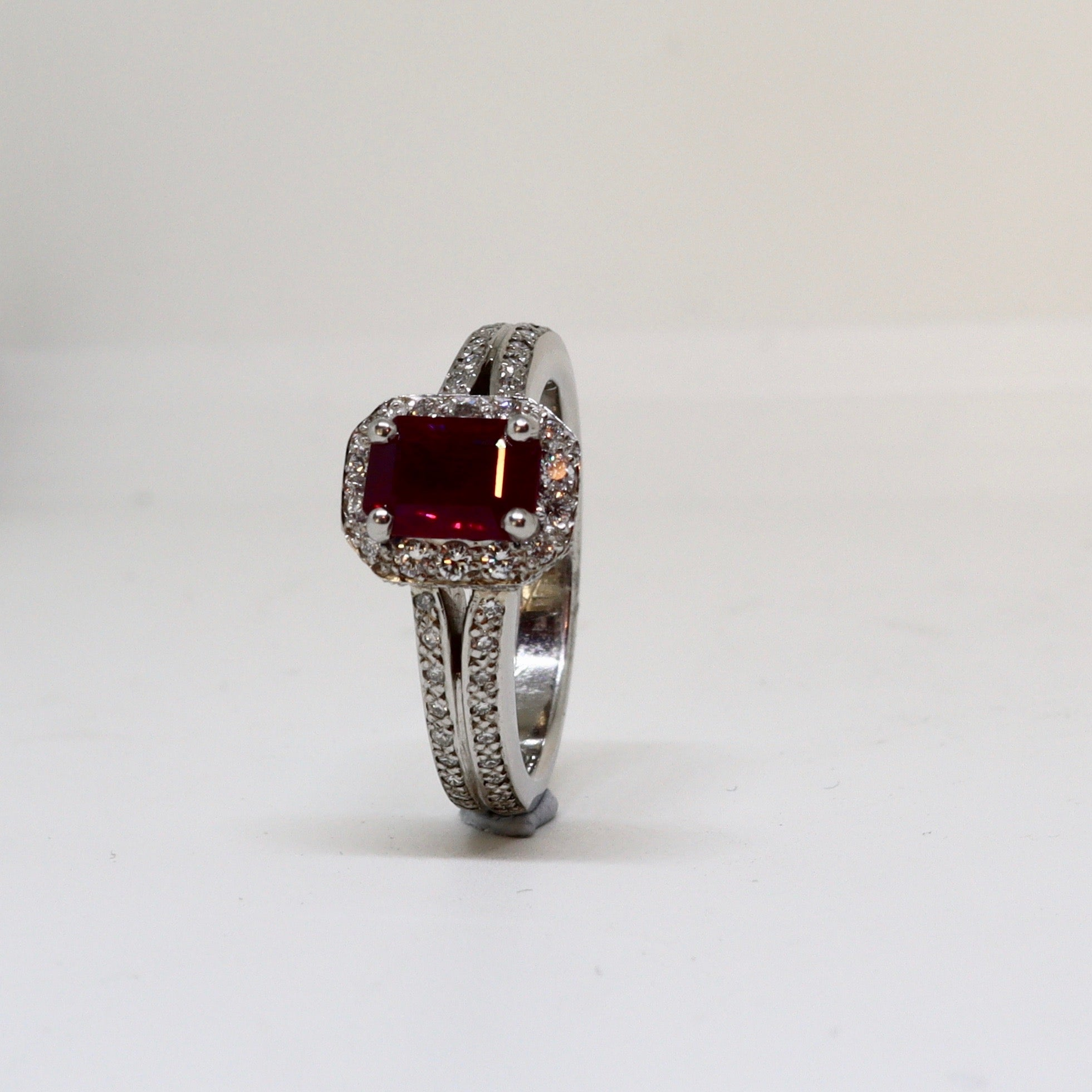 Ruby and Diamond Halo Ring
