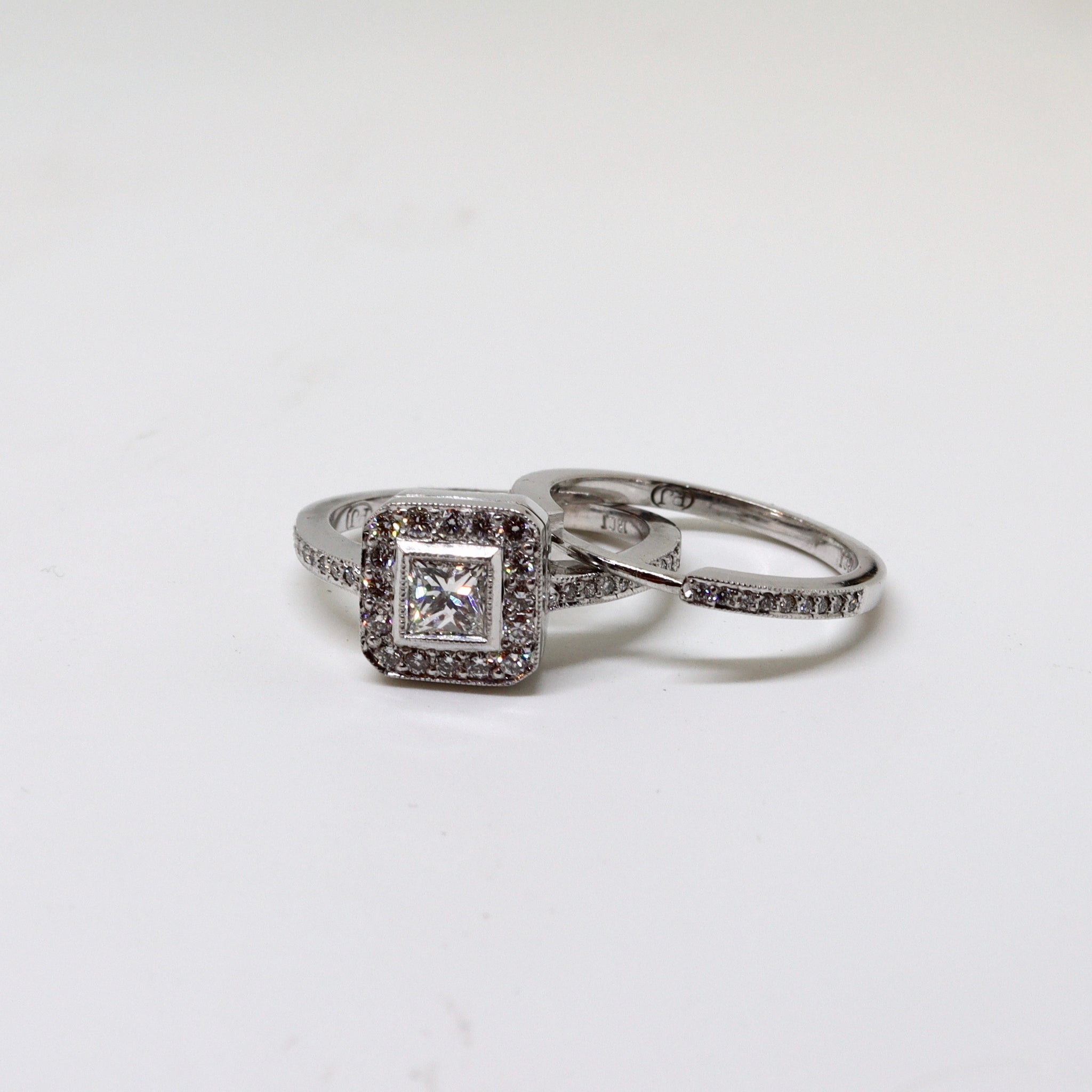 Square Diamond Cluster Halo Ring Set