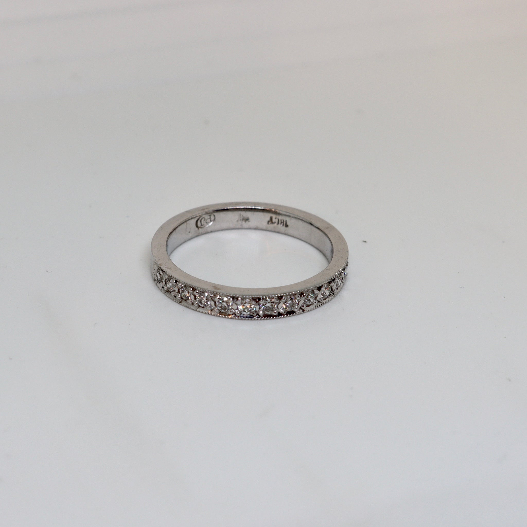 Diamond Millgrain set ring