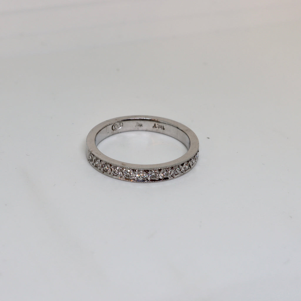 20 Stone Diamond Millgrain set ring