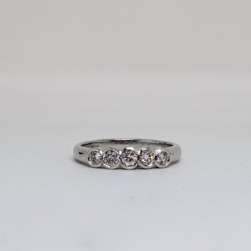 5 Stone Diamond Rubover Ring