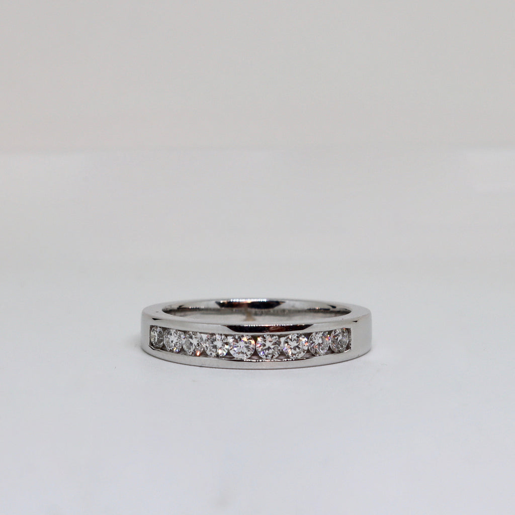 9 Stone Diamond Channel Set Ring